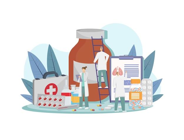 Concetto di rischio di malattia dei polmoni con visita medica dall'illustrazione dei medici