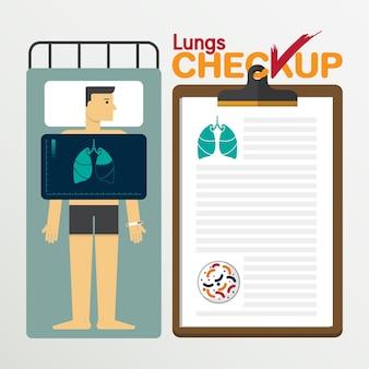 Infographics di polmoni in design piatto. illustrazione vettoriale