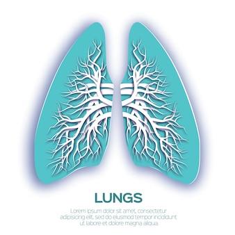 Origami di polmoni. carta blu tagliata anatomia umana dei polmoni con albero bronchiale