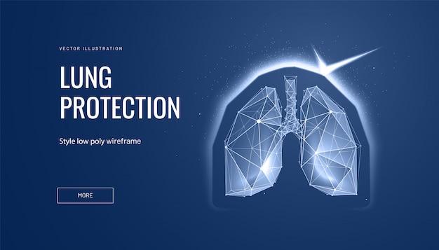 Polmoni con scudo. concetto di alette di protezione ed essere umano sano