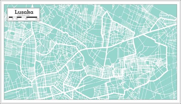 Mappa della città di lusaka zambia in stile retrò. mappa di contorno. illustrazione di vettore.