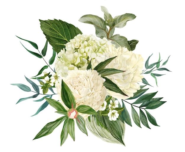 Bouquet lussureggiante composto da fiori bianchi e verde