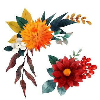 Lussureggiante composizione floreale caduta elementi floreali disegnati a mano