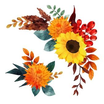 Lussureggiante composizione floreale caduta floreale disegnata a mano
