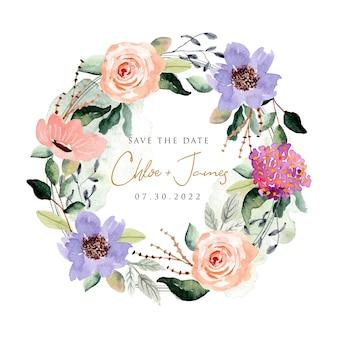 Corona dell'acquerello del giardino fiorito lussureggiante