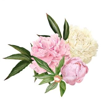 Bouquet di peonia disegnato a mano lussureggiante, fiori bianchi e rosa