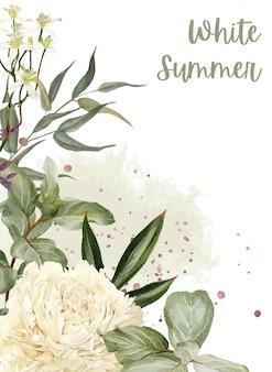 Peonie rigogliose, fiori ed elementi floreali in oro rosa