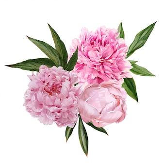 Bouquet di peonie rosa lussureggiante con foglie
