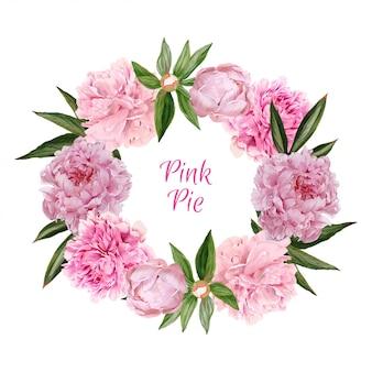 Corona di peonie rosa lussureggiante, acquerello disegnato a mano