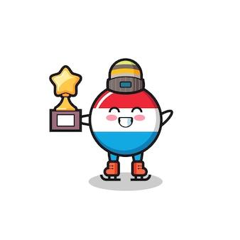 Il fumetto del distintivo della bandiera del lussemburgo come un giocatore di pattinaggio sul ghiaccio tiene il trofeo del vincitore, un design in stile carino per t-shirt, adesivo, elemento logo