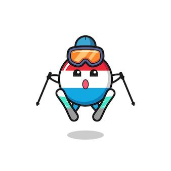 Personaggio mascotte distintivo bandiera lussemburghese come giocatore di sci, design in stile carino per maglietta, adesivo, elemento logo
