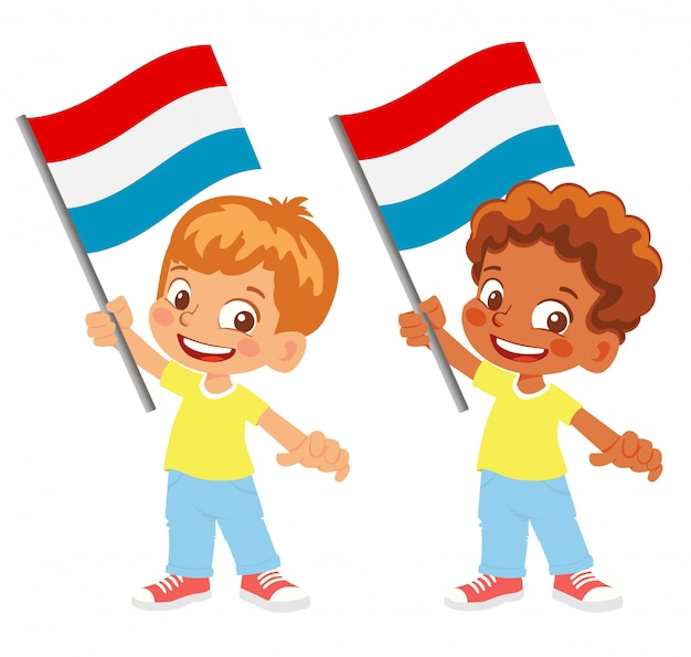 Bandiera del lussemburgo in mano insieme