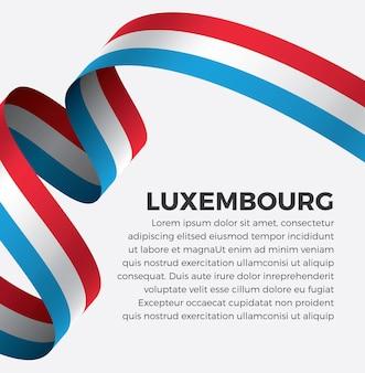 Illustrazione vettoriale di bandiera del nastro lussemburghese su uno sfondo bianco vettore premium