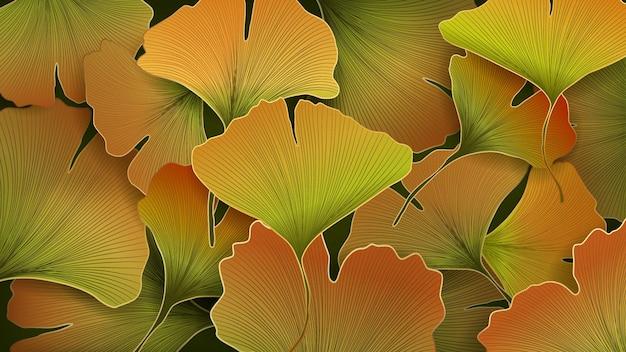 Sfondo lussuoso con ginkgo dorato autunnale per la decorazione di striscioni, imballaggi o tessuti.