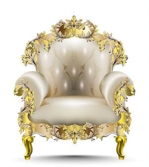 Poltrona lussuosa in stile barocco in morbido tessuto. vector realistici disegni 3d. orname dorato intagliato