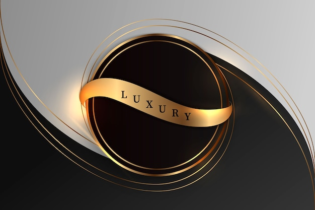 Lussuoso sfondo nero con una combinazione di oro brillante in uno stile 3d. elemento di design grafico.
