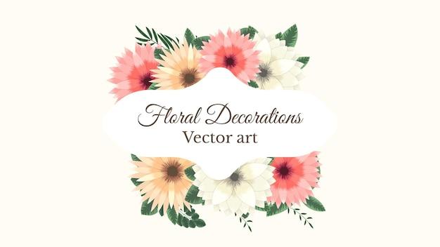 Lussuoso sfondo di cornici floreali colorate con un'etichetta vintage vector per biglietti di auguri