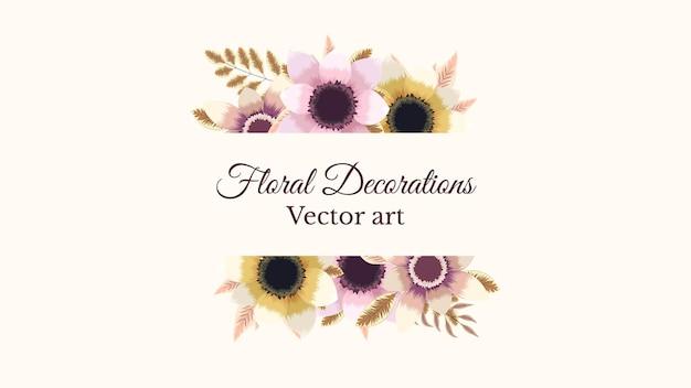 Sfondo di cornici floreali colorate di lusso con un'etichetta vintage vector illistration