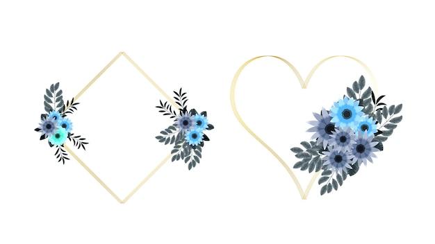 Sfondo di cornici floreali colorate di lusso con un'etichetta vintage