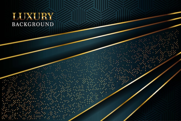 La lussuosa linea oro verde scuro si sovrappone con una combinazione strutturata di punti dorati luccica. elegante sfondo di lusso moderno Vettore Premium