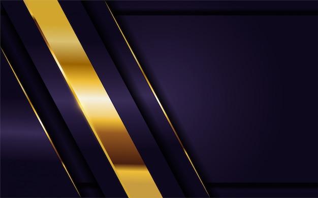 Lussuoso sfondo viola scuro con combinazione di linee dorate. Vettore Premium
