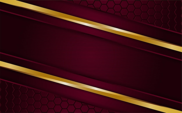 Il lussuoso sfondo rosso scuro si combina con linee dorate incandescenti. sovrapposizione dello sfondo con texture a strati