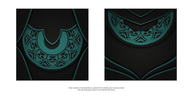 Design lussuoso di cartolina in colore nero con ornamenti blu. design per biglietti d'invito con spazio per il testo e motivi astratti.