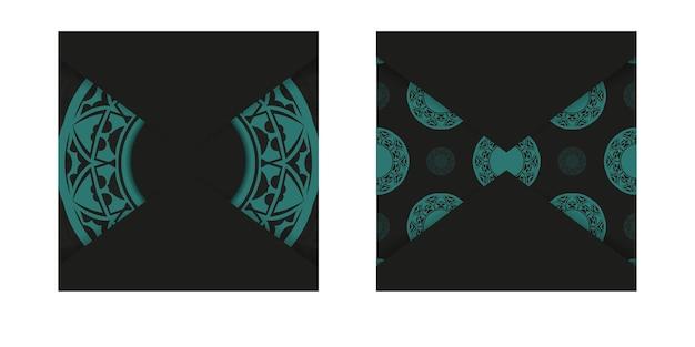Design lussuoso di cartolina in colore nero con ornamenti blu. scheda dell'invito di vettore con posto per il tuo testo e modelli astratti.
