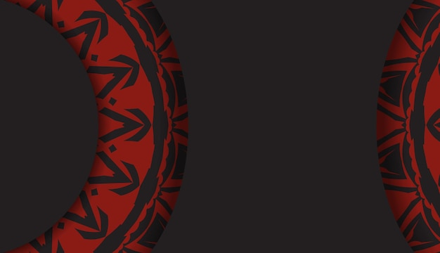 Design lussuoso di una cartolina in colore nero con un ornamento greco rosso. scheda dell'invito di vettore con posto per il tuo testo e modelli astratti.