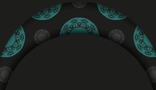 Design lussuoso di una cartolina in nero con motivi blu. design della carta di invito con spazio per il testo e l'ornamento astratto.