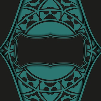 Design lussuoso di una cartolina in nero con motivi blu. scheda dell'invito di vettore con il posto per il tuo testo e ornamento astratto.