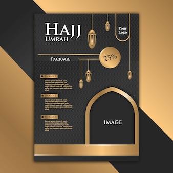 Il design lussuoso ed elegante dell'opuscolo black gold con il tema di hajj aiuta la pubblicità a diventare più attraente.