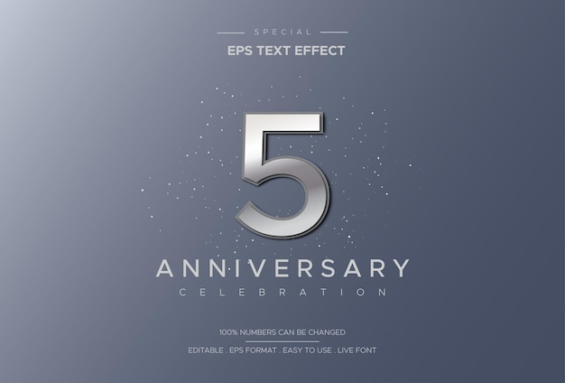 Effetto di testo di celebrazione di cinque anniversario lussuoso ed elegante con numeri d'argento