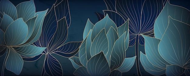 Lussuosa carta da parati oro e loto blu per banner web, social media e packaging.