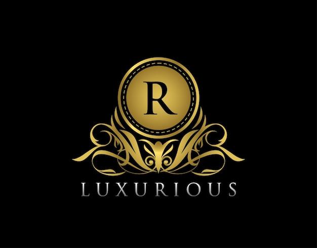 Lussuoso design distintivo floreale dorato per royalty letter stamp boutique hotel heraldic jewelry wedding