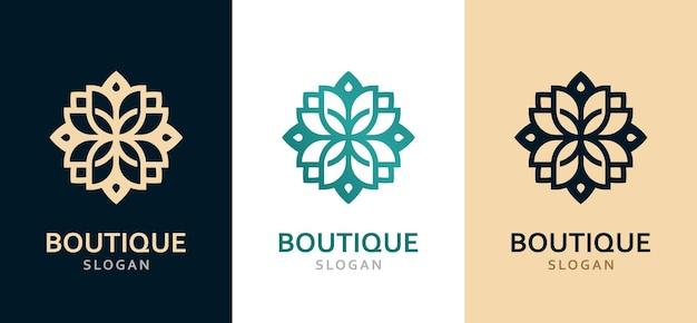 Lussuoso logo decorato monocromatico in diversi colori.