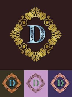 Cornice ornamentale di elementi di design lussuoso monogramma.