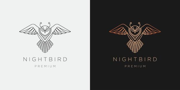 Modello di progettazione dell'icona di logo di stile di arte di linea di uccello del gufo di lusso