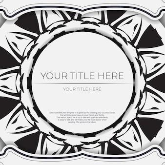 Modello di cartolina di lusso colori bianchi con motivi indiani. design dell'invito pronto per la stampa con ornamento mandala.
