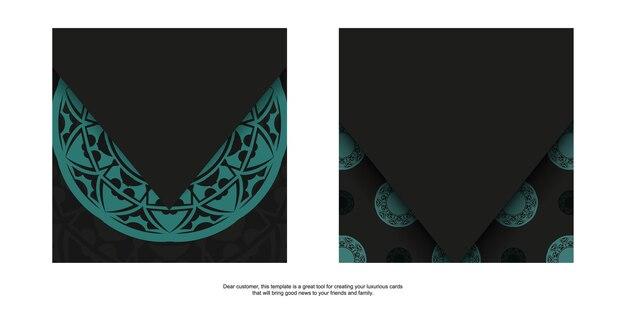 Design da cartolina di lusso pronto per la stampa in nero con ornamenti blu. modello di invito con spazio per il testo e motivi astratti.