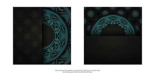 Modello lussuoso per cartoline di design di stampa in colore nero con ornamenti blu. preparare un invito con un posto per il tuo testo e motivi astratti.