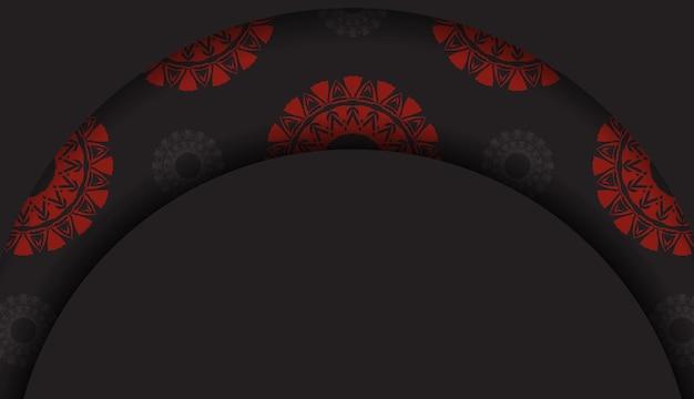 Modello lussuoso per cartoline di design di stampa in colore nero con ornamenti greci rossi. vector preparazione della carta di invito con posto per il testo e motivi astratti.