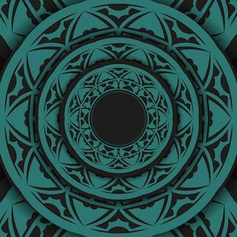 Lussuoso disegno vettoriale di cartolina in colore nero con ornamenti blu. design per biglietti d'invito con spazio per il testo e motivi astratti.