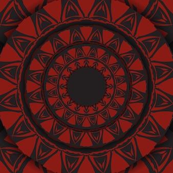 Lussuoso design da cartolina di colore nero pronto per la stampa vettoriale con motivi greci rossi. modello di carta di invito con posto per il tuo testo e ornamento astratto.