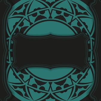 Lussuoso modello vettoriale per cartolina di design di stampa in colore nero con ornamenti blu. preparare un invito con un posto per il tuo testo e motivi astratti.