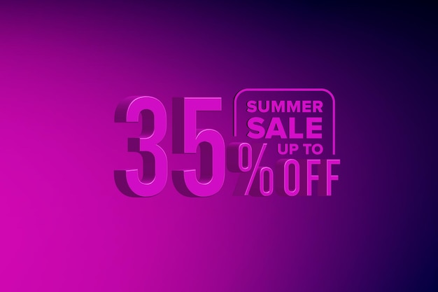 Sconto banner di vendita estiva 3d di lusso con trentacinque 35 percento
