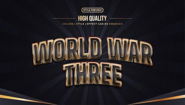 Stile di testo 3d di lusso con effetto goffrato e curvo nel concetto nero e oro