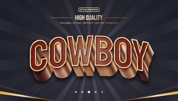 Stile di testo 3d di lusso con effetto goffrato e curvo nei toni del marrone e dell'oro