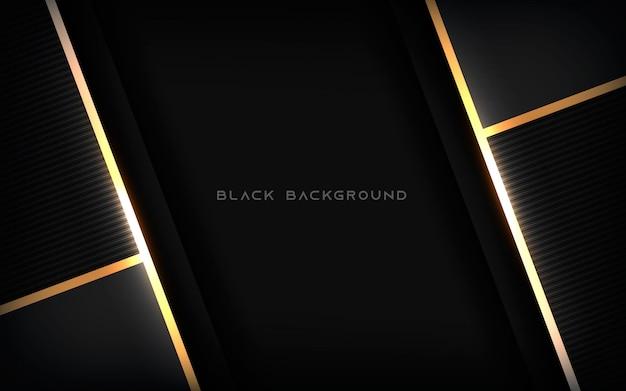 Fondo nero astratto di lusso con la linea dell'oro