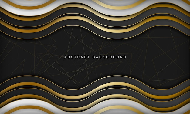 Sfondo astratto di lusso in bianco e nero curva con elementi dorati di linea